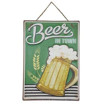 Placa de Metal Alto Relevo Beer
