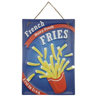 Placa de Metal Alto Relevo French Fries Fritas