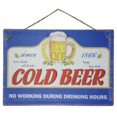 Placa de Metal Alto Relevo Cold Beer