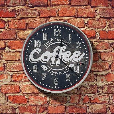 Relógio de parede Retrô Fresh Coffee