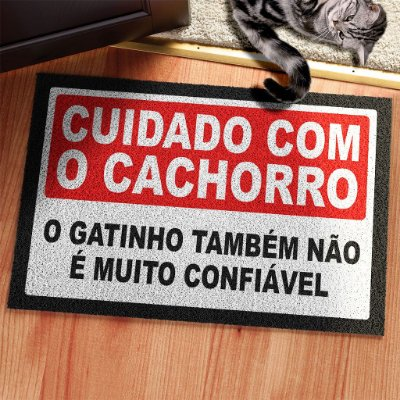 Capacho em Vinil Cuidado com o Cachorro e Gato