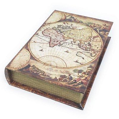 Caixa Livro Decorativa Mapa-múndi retrô - 25 x 18 cm
