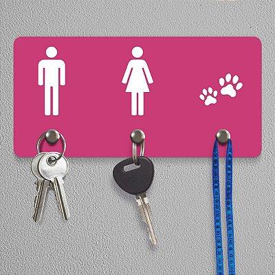 Porta Chaves Ele Ela Pets - rosa