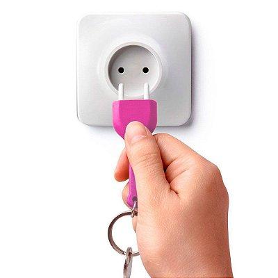Porta Chave com Chaveiro Tomada - rosa