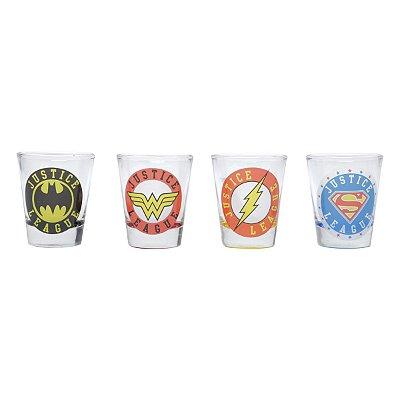 Set Copos Shot DC Comics Logos - 4 peças
