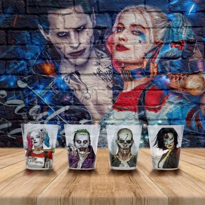 Set Copos Shot DC Comics Arlequina - 4 peças