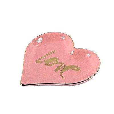 Adorno Porta Jóias Love em porcelana - coração