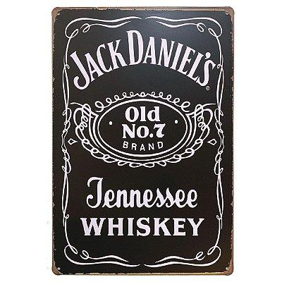 Placa de Metal Jack Daniel's Jennessee Whiskey - 30 x 20 cm