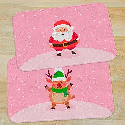 Jogo de Tapetes Natal Papai Noel e Rena - 2 peças