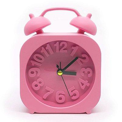 Relógio de mesa Retrô Moderno quadrado - rosa