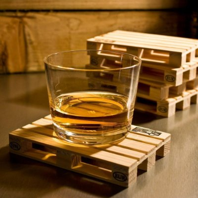 Porta Copos Pallet Wood Coaster - 4 unidades