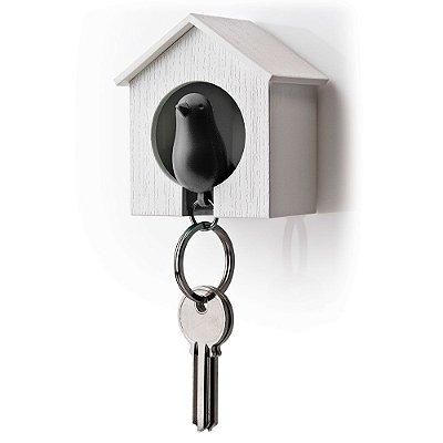 Porta Chaves e Chaveiro Passarinho Sparrow Key Ring - preto