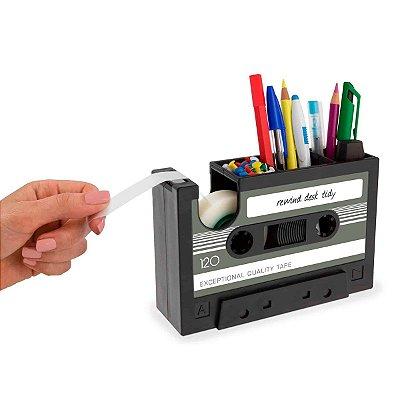 Porta Trecos com dispenser de fita adesiva Fita Cassete - cinza