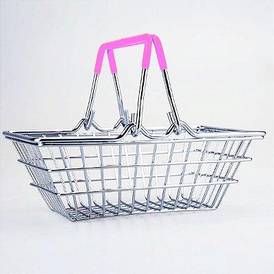 Porta Trecos Mini Cesta de Compras - rosa