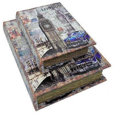 Kit Caixa Livro Decorativa London - 2 peças
