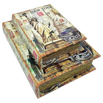 Kit Caixa Livro Decorativa New York - 2 peças