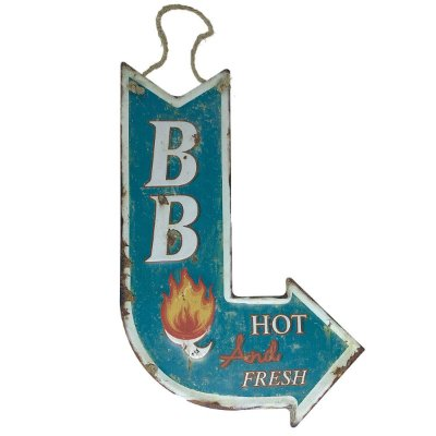 Placa de Metal Decorativa Seta BB Hot and Fresh