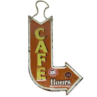 Placa de Metal Decorativa Seta Cafe 24 Hours
