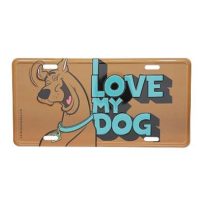 Placa de Carro em alumínio Scooby-Doo I Love My Dog