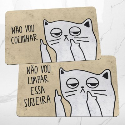 Kit Tapetes de Cozinha Gatinho Ranzinza Não vou limpar nem cozinhar- 2 peças