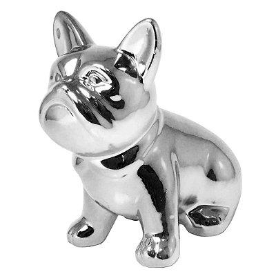 Enfeite de porcelana Bulldog 6 cm - cor prata