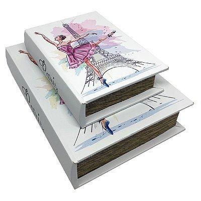 Kit Caixa Livro Decorativa Paris Torre Eiffel Balé - 2 peças