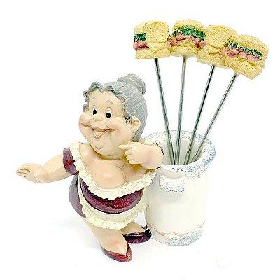 Kit Estátua com Espetos para petiscos Sanduíche - 5 peças