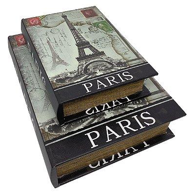 Kit Caixa Livro Decorativa Torre Eiffel Paris - 2 peças