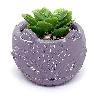 Vasinho Decorativo Raposinha planta suculenta artificial - cinza