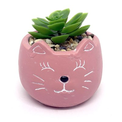 Vasinho Decorativo Gatinho planta suculenta artificial - rosa
