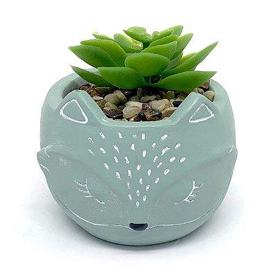 Vasinho Decorativo Raposinha planta suculenta artificial - verde