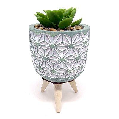 Vasinho Decorativo planta suculenta artificial - verde