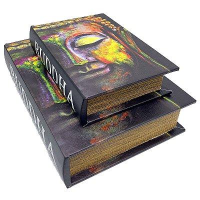 Kit Caixa Livro Decorativa Buda Colors - 2 peças