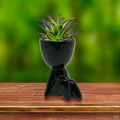 Vasinho Decorativo boneco Robert - preto