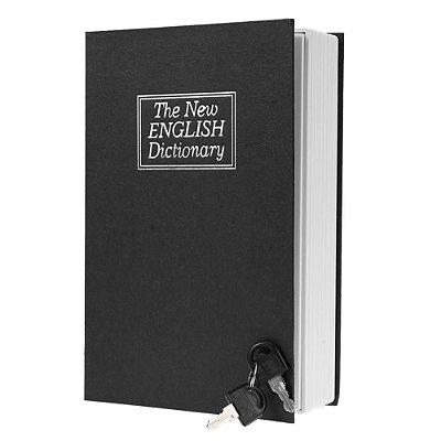 Cofre Camuflado Formato Livro Dicionário com chave - preto