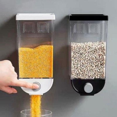 Recipiente Dispensador De Cereal Parede 1500ml - Preto