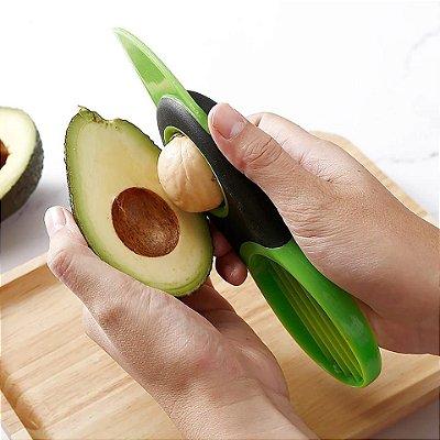Cortador de Abacate Fatiador de Frutas 3 em 1