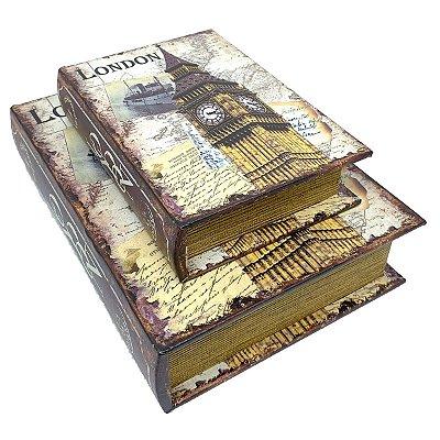 Kit Caixa Livro Decorativa London Big Ben Londres - 2 peças