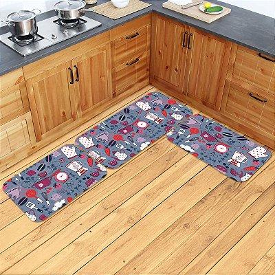 Kit Tapetes de Cozinha Utensílios - 3 peças
