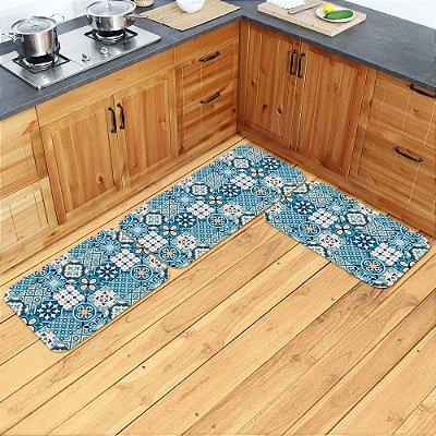 Kit Tapetes de Cozinha Azulejo Português - 3 peças