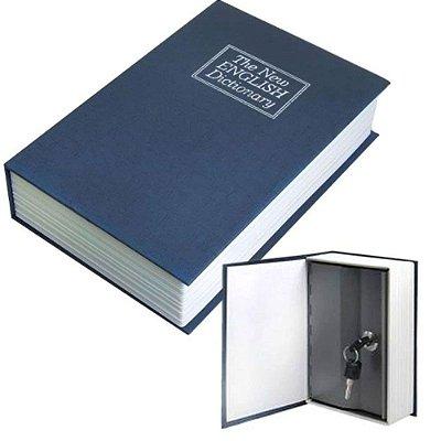 Cofre Camuflado Formato Livro Dicionário Porta Joia - Azul