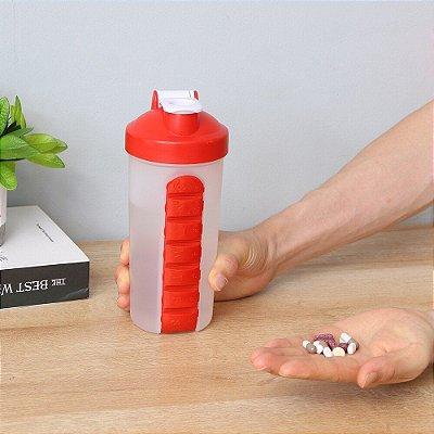 Coqueteleira Shaker com porta cápsulas e comprimidos 600ML