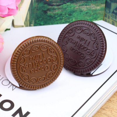 Espelho de bolso Makeup Cookie Chocolate com pente