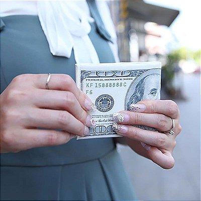 Carteira Slim Dinheiro Nota de Dólar