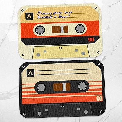 Kit Tapetes de Cozinha Fitas Cassete K7 Retrô Vintage