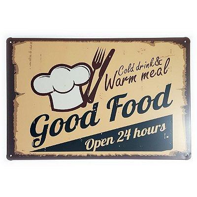 Placa de Metal Good Food Open 24 hours - 30 x 20 cm