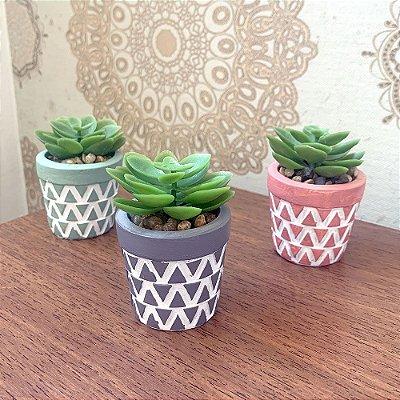 Vasinho Decorativo Triângulos planta suculenta artificial