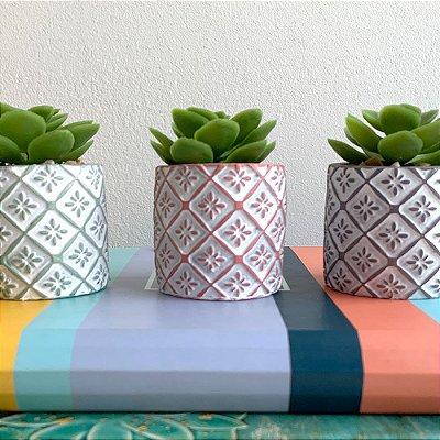 Vasinho Decorativo Losangos planta suculenta artificial