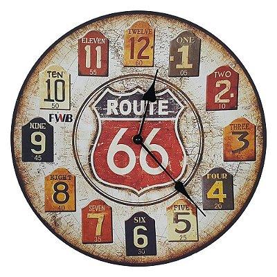 Relógio de parede Retrô Route 66 One Two Three