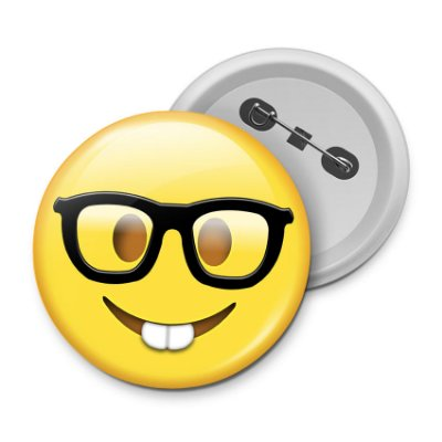 Botton Emoticon - Emoji Nerd Geek